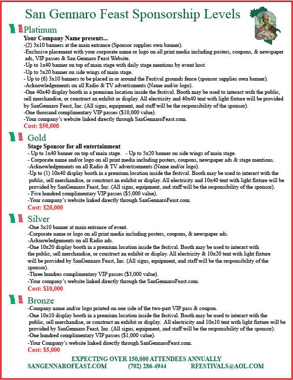 San Gennaro Feast - Sponsorship Levels
